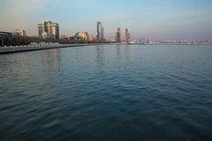 Baky skyline view from Baku boulevard the Caspian Sea embankment . Baku is the capital and largest city of Azerbaijan and of the stock images