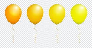 Balão amarelo lustroso da cor isolado no branco no grupo do vetor ilustração stock
