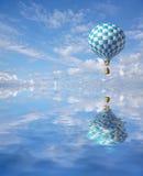 balão azul-branco do verificador 3d Imagens de Stock