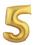 Balão cinco do ouro foto de stock