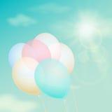 Balão colorido no céu do fundo Filtro do vintage do vetor Imagem de Stock Royalty Free