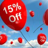 Balão com o 15% fora de mostrar a venda Fotografia de Stock
