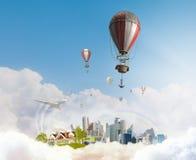 Balão de ar no céu do verão Imagem de Stock