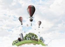 Balão de ar no céu do verão Foto de Stock Royalty Free