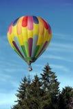 Balão de ar quente acima das árvores imagem de stock