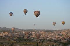 Balão de ar quente, cedo na manhã Foto de Stock Royalty Free