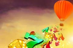 Balão de ar quente com os dados, sevens luky e baloons voando de Fotos de Stock