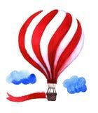 Balão de ar quente da aquarela Balões de ar tirados mão do vintage com ilustração do vetor