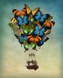 Balão de ar quente da borboleta fotografia de stock