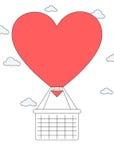 Balão de ar quente da forma do coração com cesta Fotos de Stock Royalty Free