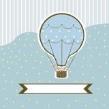 Balão de ar quente em um fundo azul com um vetor do sinal Imagens de Stock Royalty Free