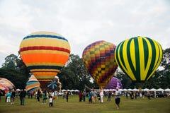 Balão de ar quente no campo Imagens de Stock