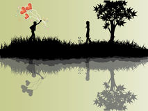 Balão do amor à menina Ilustração do Vetor