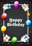 Balão do aniversário com fundo dos confetes Foto de Stock Royalty Free