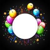 Balão do aniversário com fundo dos confetes Imagens de Stock Royalty Free