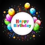 Balão do aniversário com fundo dos confetes Fotos de Stock Royalty Free