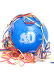 Balão do aniversário com o número 40 Imagens de Stock Royalty Free