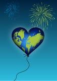 Balão do coração da terra ilustração royalty free