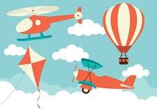 Balão do helicóptero, do plano, do papagaio & de ar quente imagem de stock