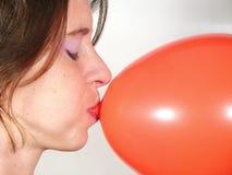 Balão do whit da menina. Fotos de Stock