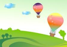 Balão dois colorido Fotos de Stock Royalty Free