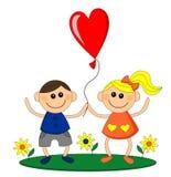 Balão feliz da posse da menina e do menino Foto de Stock