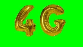 Balão móvel do ouro da rede da tecnologia 4G que flutua na tela verde - filme