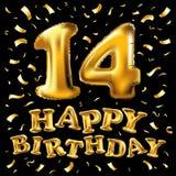 14 balão metálico dourado do número quatorze Balões dourados da decoração do partido Sinal do aniversário para o feriado feliz, c Fotos de Stock Royalty Free