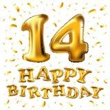14 balão metálico dourado do número quatorze Balões dourados da decoração do partido Sinal do aniversário para o feriado feliz, c Foto de Stock Royalty Free