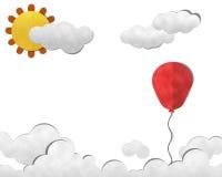 Balão no céu, arte de papel Fotografia de Stock