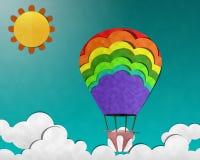 Balão no céu, arte de papel Imagem de Stock Royalty Free