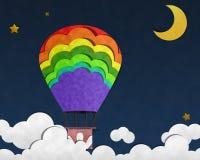 Balão no céu noturno, arte de papel Imagem de Stock