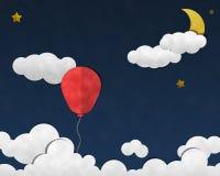 Balão no céu noturno, arte de papel Fotos de Stock