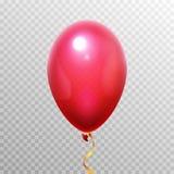 Balão realístico do vermelho 3D Balões de ar do hélio do voo para o projeto do partido Objeto do vetor isolado no fundo transpare ilustração do vetor