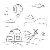 Balão sobre o país Fotografia de Stock Royalty Free