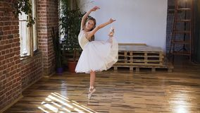 Balé clássico gracioso de exercício praticando da bailarina da dança na escola do esporte treinamento do exercício da flexibilida vídeos de arquivo