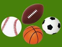 Balón aislado del béisbol, del balompié, del baloncesto y de fútbol imagen de archivo