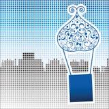Balón de aire de Ahot sobre ciudad Pixilated ilustración del vector