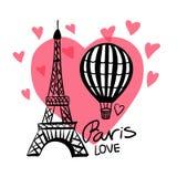 Balón de aire del drenaje de la mano del vector y torre Eiffel de París aislada en corazón rosado ilustración del vector