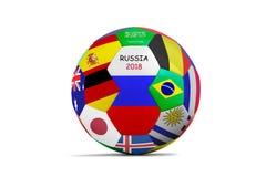Balón de fútbol aislado con mucha bandera para la taza 2018 Fotos de archivo