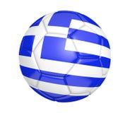 Balón de fútbol aislado, o fútbol, con la bandera de país de Grecia, representación 3D Fotos de archivo libres de regalías