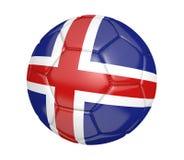 Balón de fútbol aislado, o fútbol, con la bandera de país de Islandia Imagenes de archivo