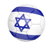 Balón de fútbol aislado, o fútbol, con la bandera de país de Israel, representación 3D Foto de archivo libre de regalías