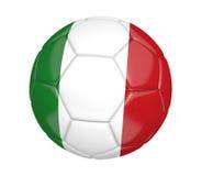 Balón de fútbol aislado, o fútbol, con la bandera de país de Italia, representación 3D Foto de archivo libre de regalías