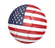 Balón de fútbol aislado, o fútbol, con la bandera de país de los Estados Unidos Fotografía de archivo libre de regalías
