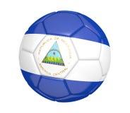 Balón de fútbol aislado, o fútbol, con la bandera de país de Nicaragua Fotos de archivo