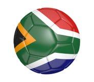 Balón de fútbol aislado, o fútbol, con la bandera de país de Suráfrica Fotos de archivo libres de regalías
