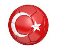 Balón de fútbol aislado, o fútbol, con la bandera de país de Turquía Fotos de archivo