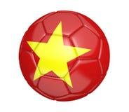 Balón de fútbol aislado, o fútbol, con la bandera de país de Vietnam Foto de archivo