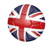 Balón de fútbol aislado, o fútbol, con la bandera de país del Reino Unido Fotos de archivo libres de regalías